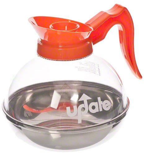 Update International CD-8890/OR Polycarbonate Plastic Decanter for Decaf Coffee with Orange Handle, 64-Ounce
