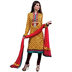 Gorgeous Yellow & Maroon Coloured Embroidered Dress Material