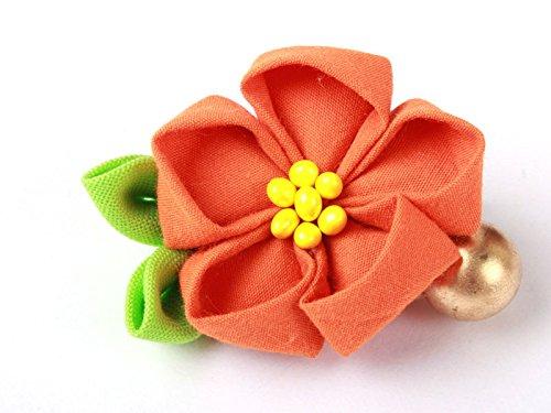 和風 花柄 ヘアピン 和装 髪飾り#オレンジ