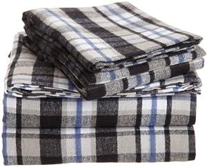 Pinzon 160-Gram Yarn-Dyed 100-Percent Cotton Flannel Sheet Set, Twin, Black/Khaki Plaid