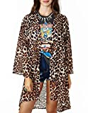 Jollychic Women's Leopard Floral Print Sheer Open Long Sleeve Blouse Kimono Tops Size 10 US Leopard Reviews