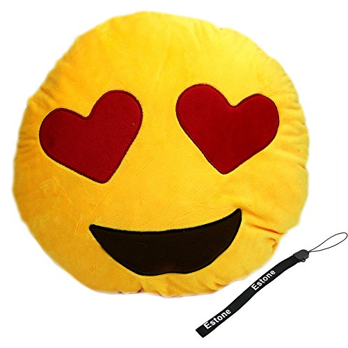 Why Choose Estone® Soft Emoji Smiley Emoticon Yellow Round Cushion Pillow Stuffed Plush Toy Doll (Heart eyes)