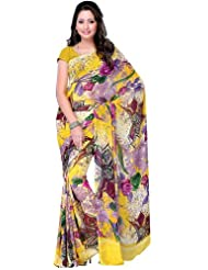 Exotic India Multi-Color Floral Printed Sari From Surat