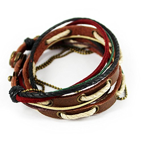 Nice Buckeye Multi-strand Three-tone Cotton Rope Adjustable Length Leather Bracelet