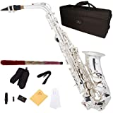 Cecilio 3Series AS-380S Plated Eb Intermediate to Advanced Alto Saxophone with Mouthpiece, Case, 10 Reeds and Accessories - Silver