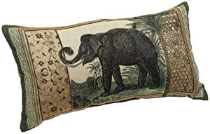Brentwood Knife Edge 13 by 24-Inch Tapestry Pillow, Elephant Imperial