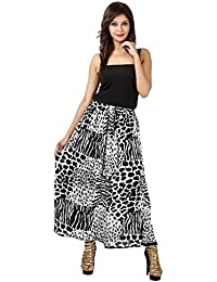Indi Bargain Soft Rayon Black And White Traditional Full Length Skirt - 456