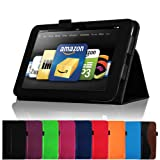 Fintie (Black) Slim Fit Leather Case Cover Auto Sleep/Wake for Kindle Fire HD 8.9&quot; Inch Tablet- 9 colors options