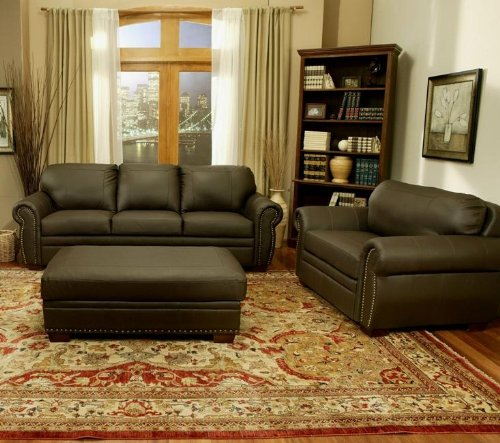 Abbyson Living Bellavista Brown Italian Leather Oversized Chair and Ottoman Sofa Set