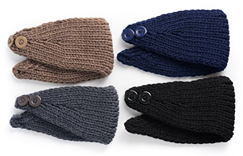 4 Pics: HBY8482; Women's Fashion Winter Button Ear Warmer Crochet Headband Hairband Wrap