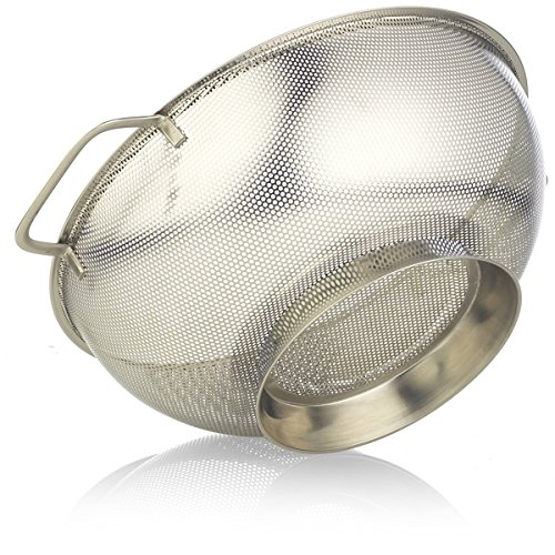 Colander Michael 5, Stainless Steel Strainer, 5 quarts Micro perforated, Safe Stainless Steel, High Quality,Vegetables, Fruits, Pasta, Nodles, Orzo, Strainers With Large Handles, Dishwasher Safe.