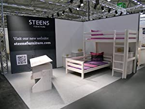 Tom Pine Whitewash 'l Shaped' High Sleeper Bed With Single Bed And Play Space From Centurion Pine