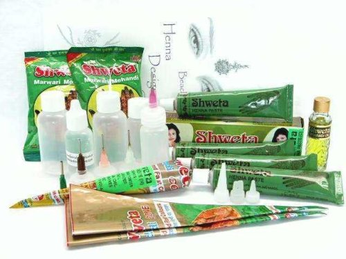 Ultimate Beginner Paste Powder Color Henna Tattoo Starter Kit With Transfer