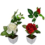 Thefancymart Set Of 2 Piece Artifical Rose Plants With Pots Style Code -14