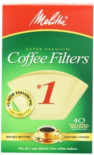 Melitta Cone Coffee Filters, Natural Brown, No. 1, 40-Count Filters (Pack of 12), Garden, Lawn, Maintenance