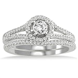 Lovely Bridal Ring Set 1 Carat Round Cut Diamond on 10k Gold