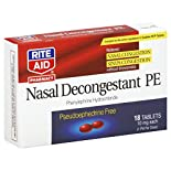 Rite Aid Pharmacy Nasal Decongestant PE, 10 mg, Tablets, 18 tablets