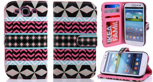 Galaxy S3 Case, Case For Galaxy S3,Case For S3,Thinkcase Samsung I9300 Galaxy S3 Tribal Design Premium Pu Leather Wallet Case With Card Holder Flip Leather Cover Case 07#