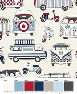 prestige fashion uk designer stoff motiv vw bus und moped. Black Bedroom Furniture Sets. Home Design Ideas