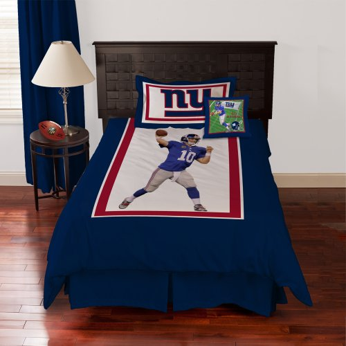 BIGGSHOTS Touchdown New York Giants Eli Manning Comforter Set and Toss Pillow, Twin at Amazon.com