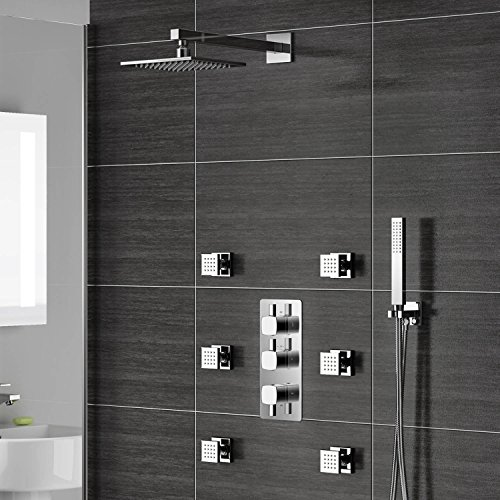 Concealed Chrome Bathroom Thermostatic Shower Set inc Massage Jets & Handheld SB3058