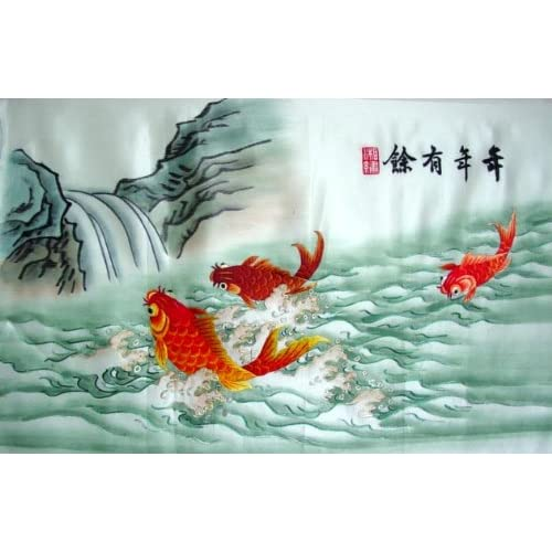 Chinese silk embroidery wall hanging fish koi for Koi wall hanging