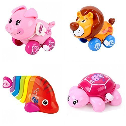 4pcsLot-Wind-Up-Toy-Wind-Up-Animal-for-Baby-Toddler-and-Kid-Pig-Lion-Fish-Turtle