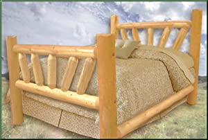 Queen Size Pine Sunburst Log Bed
