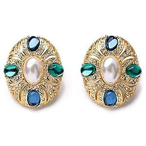 Oasap Women's Classic Faux Pearl Rhinestones Clip Earrings