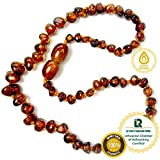 Baltic Amber Teething Necklace - Genuine Amber Necklaces for Baby - Natural Teether Relief for Boys and Girls - Hand Knotted Beads with Screw Clasp (Cognac)