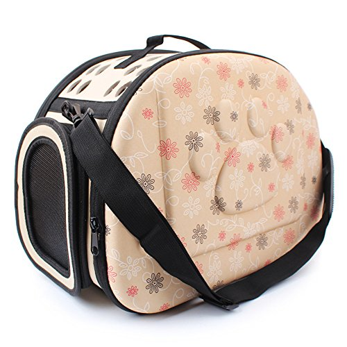 Pet Travel Carrier, PYRUS Comfort EVA Portable Foldable Pet Bag Airline Approved Travel Tote Soft Bag for Dogs Cat and other Pets (Champaign gold)