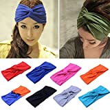 Wowlife Contrast Color Women Girls Wash The Face Headbands Headwrap Hair Band Yoga Cotton Turban Twist Headband Cross Knot Hair Bands With Wowlifes Pouch (Black)