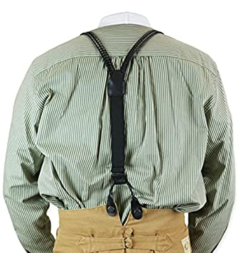 Historical Emporium Mens Braided Leather Y-Back Suspenders $41.95 AT vintagedancer.com