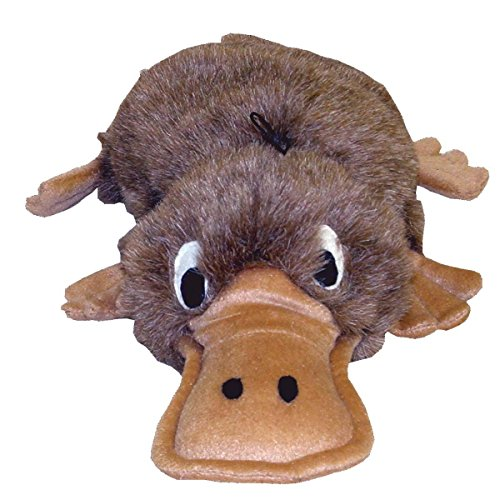 Kyjen PP01276 Egg Babies Platypus Plush Dog Toys Squeak Toy Dog Puzzle, Large, Brown