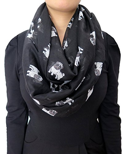 Lina & Lily Cute Pug Dog Print Women's Infinity Scarf Lightweight (Large Size)