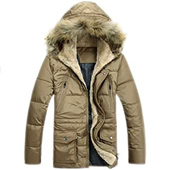 HLYJ Mens Winter Military Style White Duck Down Jacket With Fur Hood Outwear Black 3XL