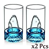 WOM-HOPE® A Set Of 2 Creative Transparent Double Wall Shark Shape Glass Cup Wine Glasses Ice Cream Cup for Cocktail Drinking Ware Beer Cup (Shark (2 Pcs))