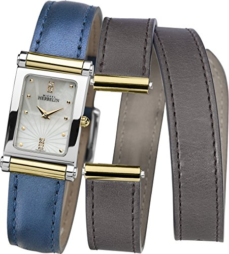 Michel Herbelin Antares Interchangeable Women's Quartz Watch with Mof Pearl Dial Analogue Display and Blue Leather Strap COF17048/T59BS