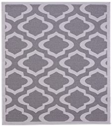 Grey and Charcoal Contemporary Moroccan Trellis Design Non-Slip Area Rug (5\'0\