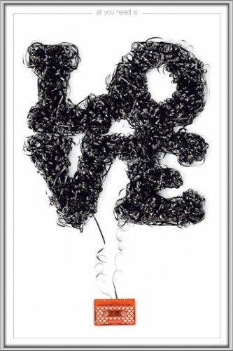 Poster mit Rahmen 61 x 91,5 cm, Silber - Love tape gerahmt - Antireflex Acrylglas