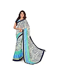 Anusha Multi Color Georgette Self Printed With Attached Border Saree - B01546LQ1G