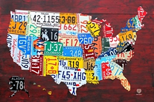 LICENSE PLATE MAP USA Poster Print (24 x 36)