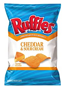 Ruffles Potato Chips, Cheddar and Sour Cream, 1.88 Ounce