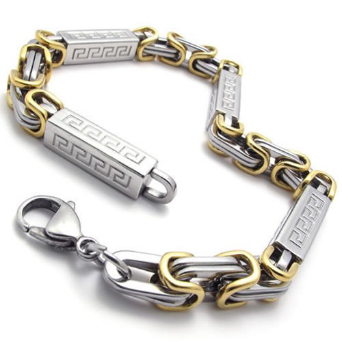 Konov Jewellery Men's Classic Stainless Steel Link Box Bracelet, Colour Gold Silver, Length 9 inch