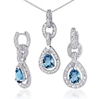 Alluring Design 6.00 carats Pear Checkerboard Shape London Blue Topaz Pendant Earrings Set in Sterling Silver Rhodium Nickel Finish from Peora
