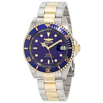 Classic styling and high performance add up to an outstanding sport watch for your land or sea adventures. This two-tone automatic watch, from Invicta's Pro Diver series, places a large round stainless steel case on a robust steel bracelet with gold-...