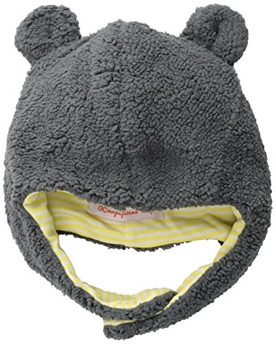 Magnificent Baby Baby-Boys Infant Fleece Bear Hat, Ash/Lemon, 6-12 Months