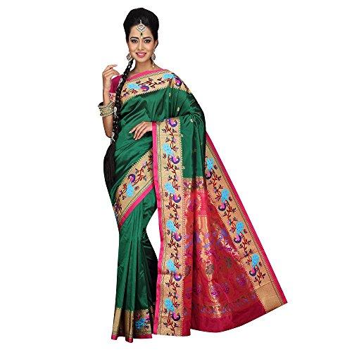 Mahila Silks GREEN Traditional Paithani Sarees