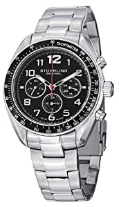 Stuhrling Original Monaco Concorso Dragster Men's Quartz Watch with Black Dial Analogue Display and Silver Stainless Steel Bracelet 814.01