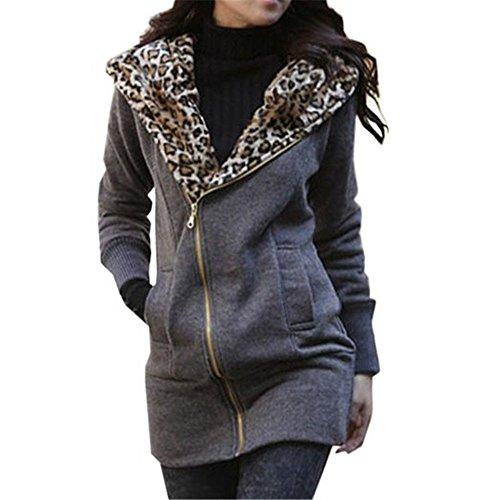 Minetom Leopard Zip Capispalla Maniche Lunghe Con Cappuccio Sweat Jacket - Donna Inverno Cappotto Maglione Autunno ( Grigio scuro IT 44 )